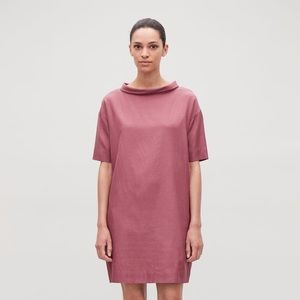 COS Folded Collar Draped Pink Dress US6